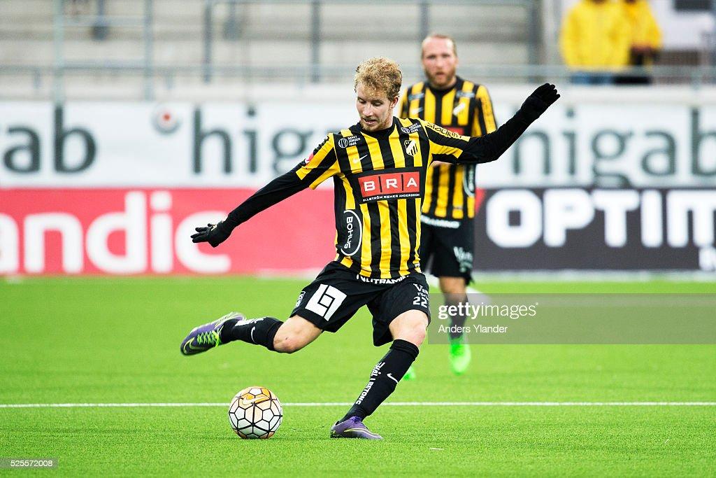 Samuel Gustafson of BK Hacken in action during the Allsvenskan match between BK Hacken and Gefle IF at Bravida Arena on April 28, 2016 in Gothenburg, Sweden.