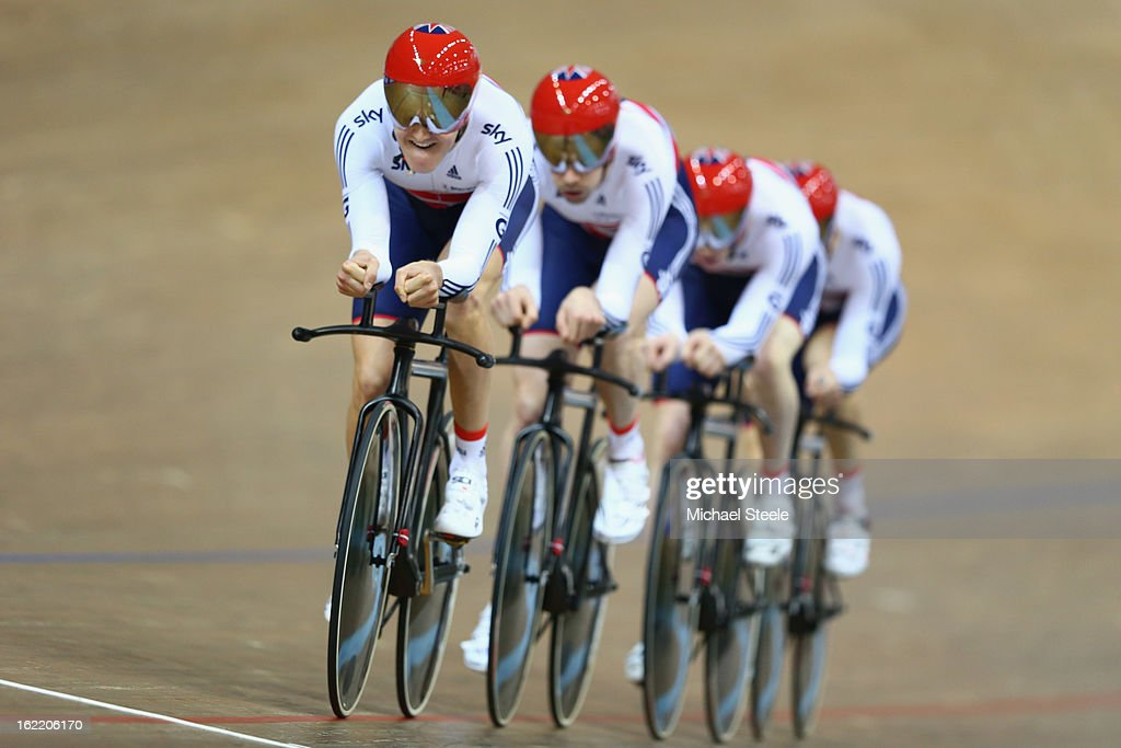 Samuel Harrison (L) of Great Britain leads the men's team pursuit to silver losing out to Australia during day one of the UCI Track World Championships at Minsk Arena on February 20, 2013 in Minsk, Belarus.