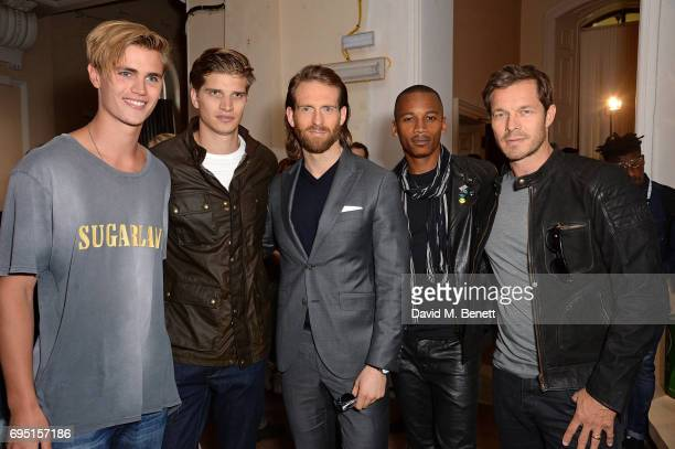 Samuel Harwood Toby HuntingtonWhiteley Craig McGinlay Eric Underwood and Paul Sculfor attend the Belstaff Presentation during the London Fashion Week...