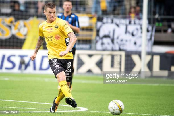 Samuel Holmen of IF Elfsborg controls the ball during the Allsvenskan match between IF Elfsborg and IK Sirius FK at Boras Arena on July 29 2017 in...