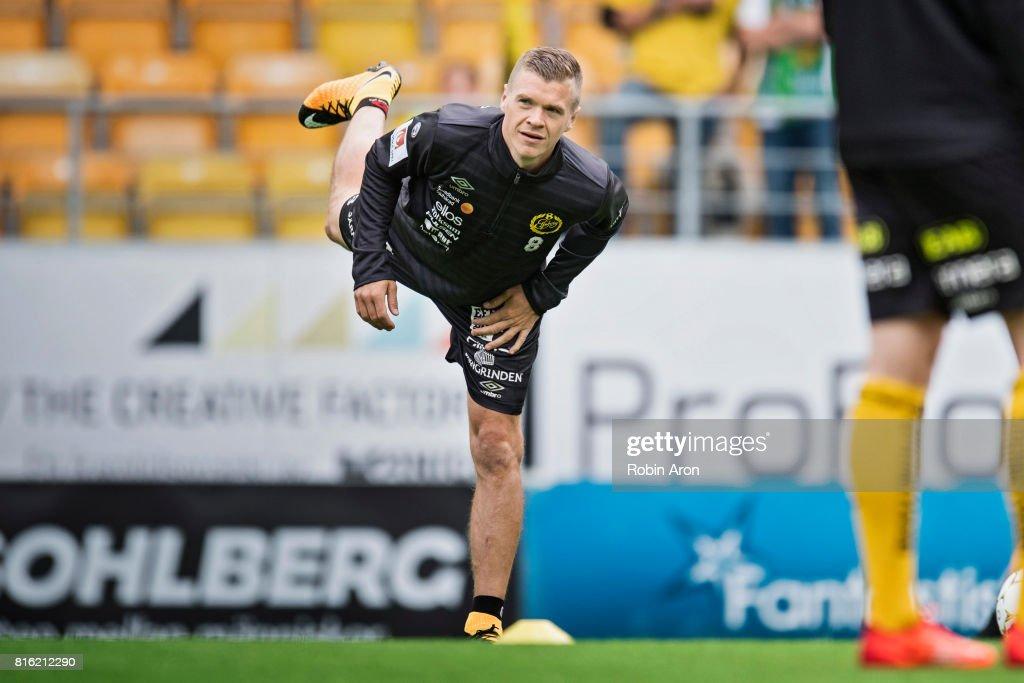 Samuel Holmen of IF Elfsborg warm up before the Allsvenskan match between IF Elfsborg and Hammarby at Boras Arena on July 17, 2017 in Boras, Sweden.