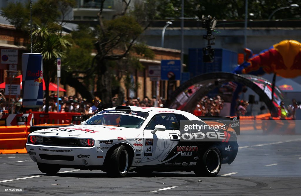 Samuel Hubinette of the USA competes in the Red Bull Drift Shifters along Victoria Street on December 8, 2012 in Auckland, New Zealand.