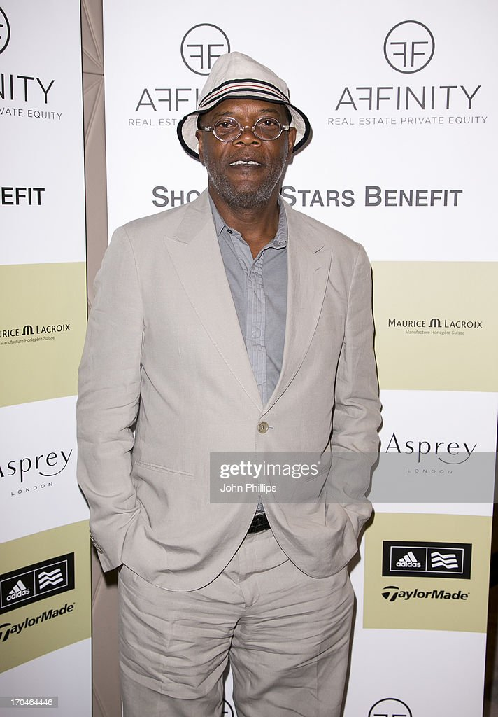 Samuel Jackson attends the Affinity Real Estate Shooting Stars Benefit Welcome Pairing Dinner at Asprey, New Bond Street on June 13, 2013 in London, England.