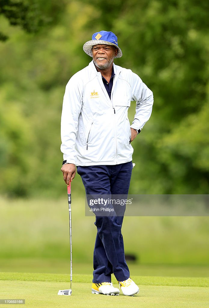 Samuel Jackson looks on during the Affinity Real Estate Shooting Stars First Round at The Grove Hotel on June 14, 2013 in Hertford, England.