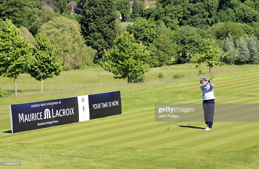 Samuel Jackson plays a tee shot during the Affinity Real Estate Shooting Stars First Round at The Grove Hotel on June 14, 2013 in Hertford, England.