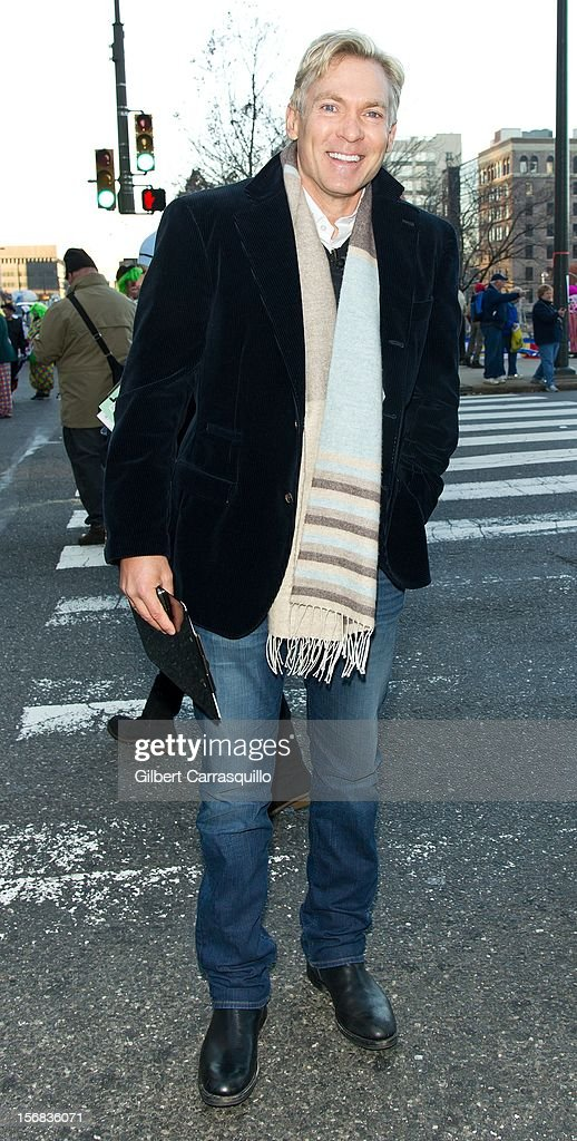 Samuel James 'Sam' Champion weather anchor of ABC's Good Morning America attends the 93rd annual Dunkin' Donuts Thanksgiving Day Parade on November 22, 2012 in Philadelphia, Pennsylvania.