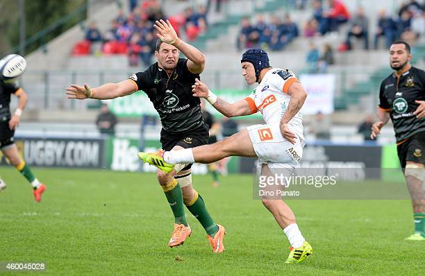 Samuel John Christie of Benetton Treviso scores the ball during the European Rugby Champions Cup Match between Benetton Treviso and Northampton...