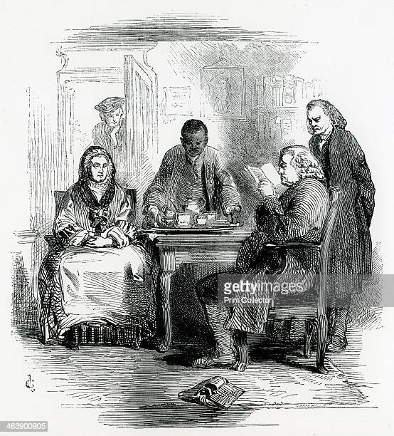Samuel Johnson 18th century English man of letters in his house off Fleet Street London attended by his servant Francis and Mrs Williams 1852 A...