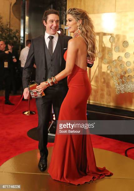 Samuel Johnson and Delta Goodrem arrive at the 59th Annual Logie Awards at Crown Palladium on April 23 2017 in Melbourne Australia