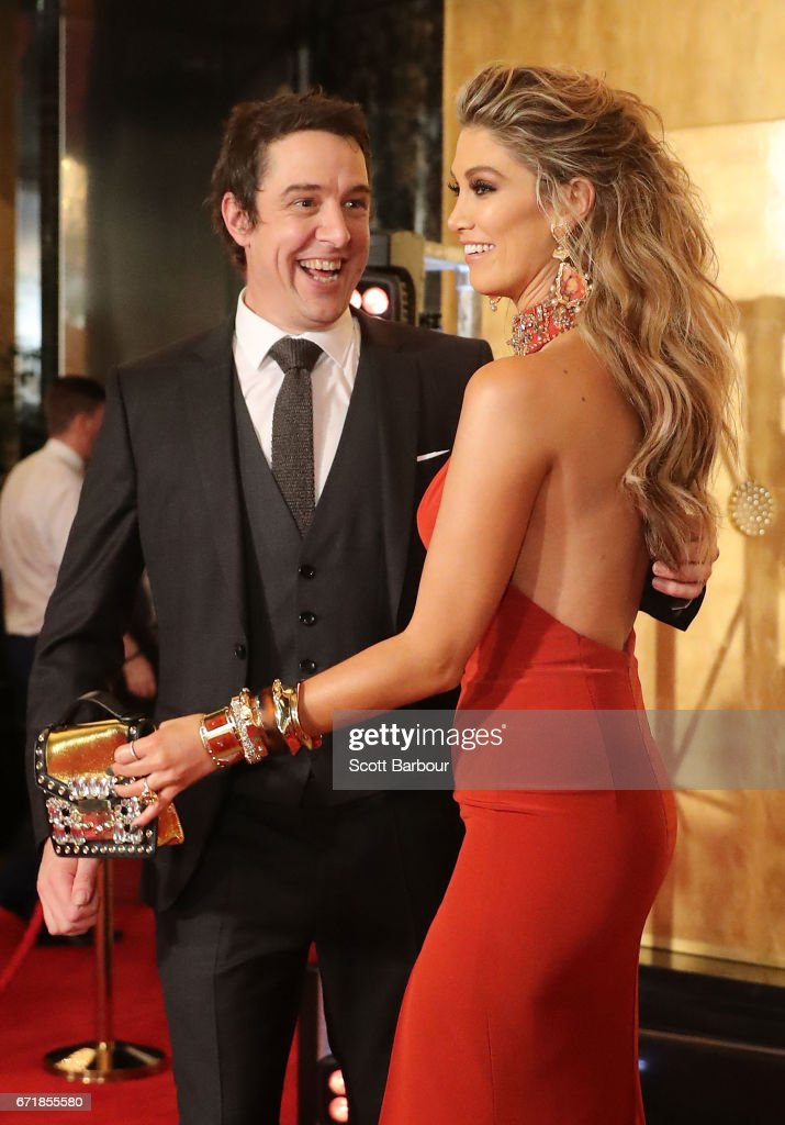 Samuel Johnson asks Delta Goodrem for a photo as they arrive at the 59th Annual Logie Awards at Crown Palladium on April 23, 2017 in Melbourne, Australia.