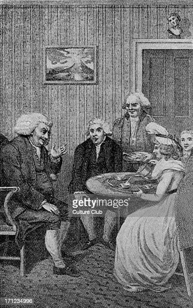 Samuel Johnson at breakfast at Mrs Thrales's Drawing by George Cruikshank SJEnglish essayist biographer lexicographer and critic of English...