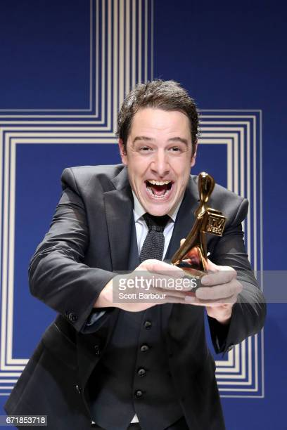Samuel Johnson poses with the Gold Logie Award for Best Personality On Australian TV during the 59th Annual Logie Awards at Crown Palladium on April...