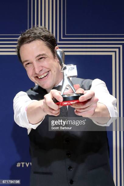 Samuel Johnson poses with the Logie Award for Best Actor for 'Molly' during the 59th Annual Logie Awards at Crown Palladium on April 23 2017 in...
