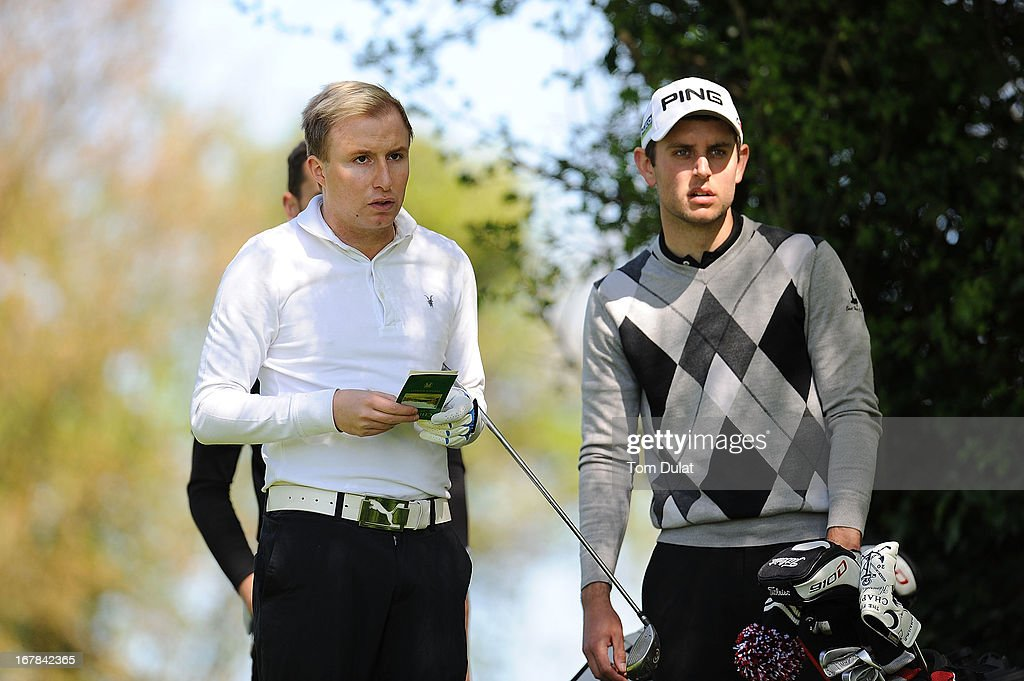Samuel Jones of East Herts Golf Club (R) and James Smith of Marylands Golf & Country Club (L) look on during the Powerade PGA Assistants' Championship East Regional Qualifier at Chigwell Golf Club on May 01, 2013 in Chigwell, England.