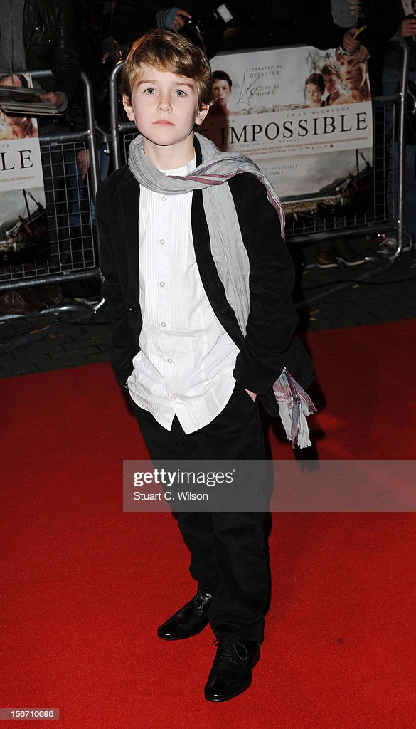 Samuel Joslin attends the UK charity premiere of 'The Impossible' at BFI IMAX on November 19, 2012 in London, England.