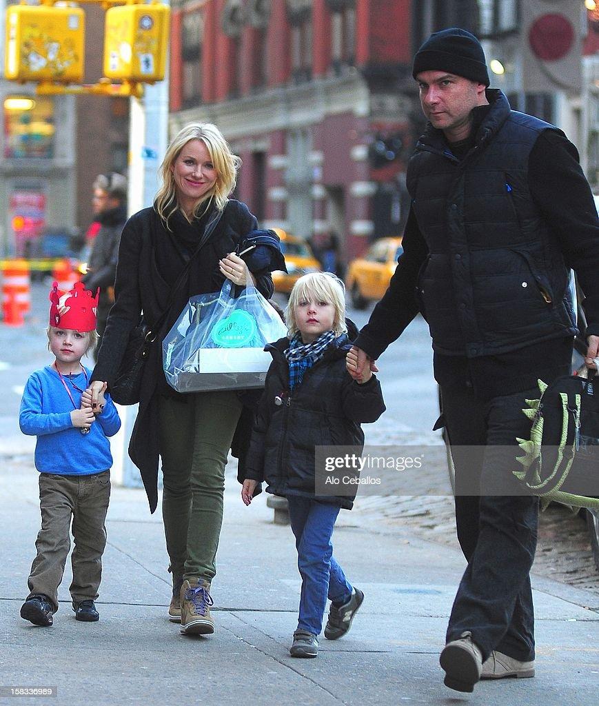 Samuel Kai Schreiber, Naomi Watts, Alexander Pete Schreiber and Liev Schreiber are seen in the East Village on December 13, 2012 in New York City.