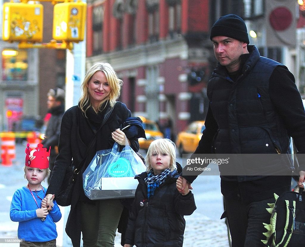 Samuel Kai Schreiber, Naomi Watts, Alexander Pete Schreiber and Liev Schreiber are seen in the East Village on December 13, 2012 in New York City.