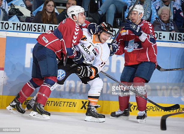 Samuel Klassen Sebastian Furchner of the Grizzly Adams Wolfsburg and Matthew Pettinger of the Hamburg Freezers in action during the game between...