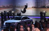 Samuel Koch jumps over a car during the 192th 'Wetten dass ' show at the exhibition hall Dusseldorf on December 4 2010 in Duesseldorf Germany During...