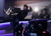 Samuel Koch jumps over the first car of five cars during the 192th 'Wetten dass ' show at the exhibition hall Dusseldorf on December 4 2010 in...