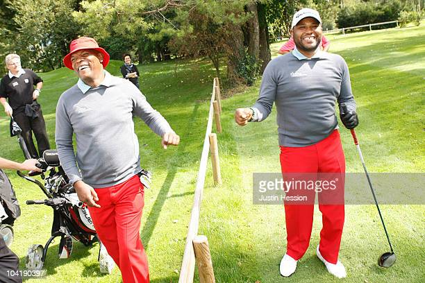 Samuel L Jackson and Anthony Anderson at the Shooting Stars Benefit 2010 Golf Tournament in aid of Samuel L Jackson foundation and Swiss Red Cross on...