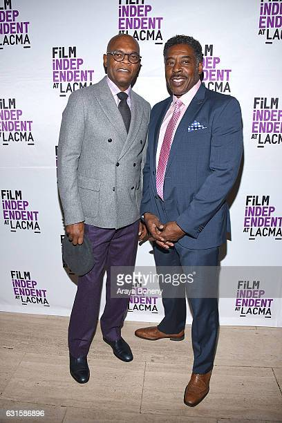 Samuel L Jackson and Ernie Hudson attend the Film Independent at LACMA presents screening and QA of 'I Am Not Your Negro' at Bing Theatre At LACMA on...