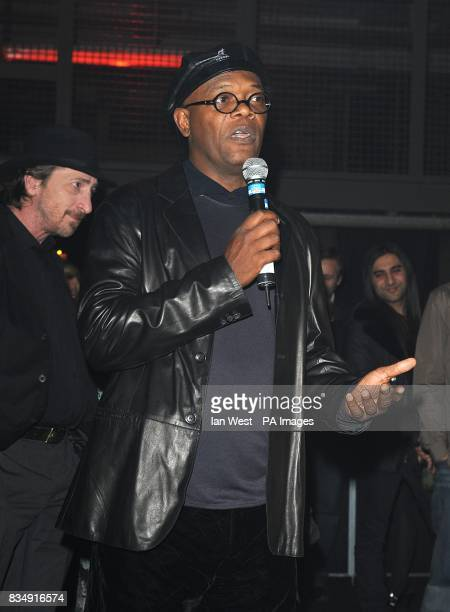 Samuel L Jackson and Frank Miller attend the launch party for Miller's latest film 'The Spirit' at The Old Sorting Office in central London