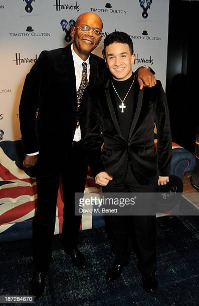 Samuel L Jackson and Jahmene Douglas attend the 'One For The Boys' dinner for Cancer Awareness hosted by Samuel L Jackson at Harrods on November 7...