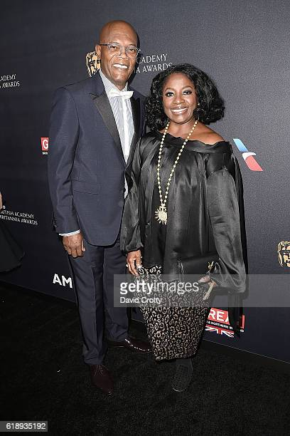 Samuel L Jackson and LaTanya Richardson attend the AMD British Academy Britannia Awards Presented by Jaguar Land Rover and American Airlines at The...