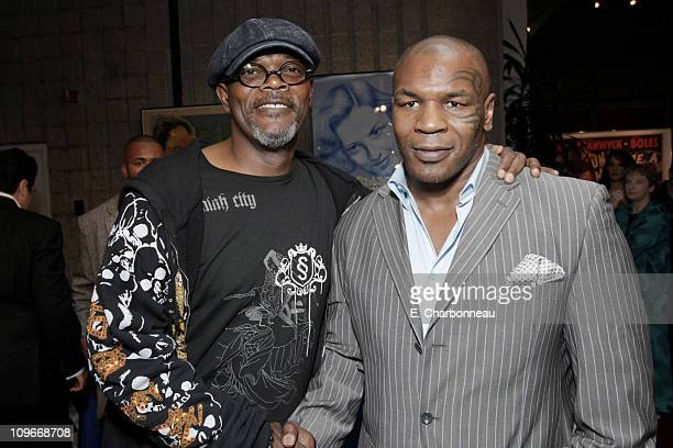 Samuel L Jackson and Mike Tyson at the Los Angeles Premiere Party of 'Resurrecting the Champ' at the Academy of Motion Picture Arts and Sciences on...