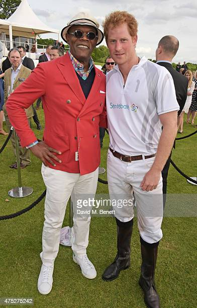 Samuel L Jackson and Prince Harry attend day one of the Audi Polo Challenge at Coworth Park on May 30 2015 in London England