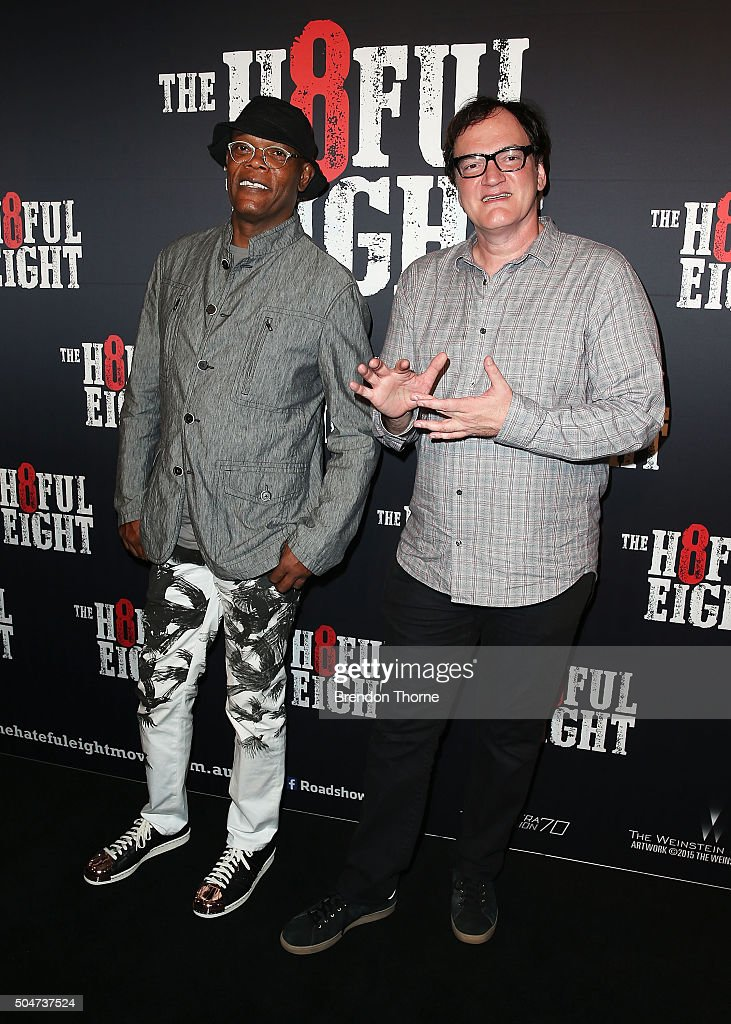 Samuel L. Jackson and Quentin Tarantino arrive ahead of the Australian premiere of The Hateful Eight at Event Cinemas George Street on January 13, 2016 in Sydney, Australia.