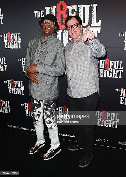 Samuel L Jackson and Quentin Tarantino arrive ahead of the Australian premiere of The Hateful Eight at Event Cinemas George Street on January 13 2016...