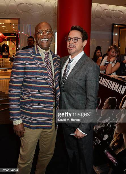 Samuel L Jackson and Robert Downey Jr attend the European Premiere of 'Captain America Civil War' at Vue Westfield on April 26 2016 in London England
