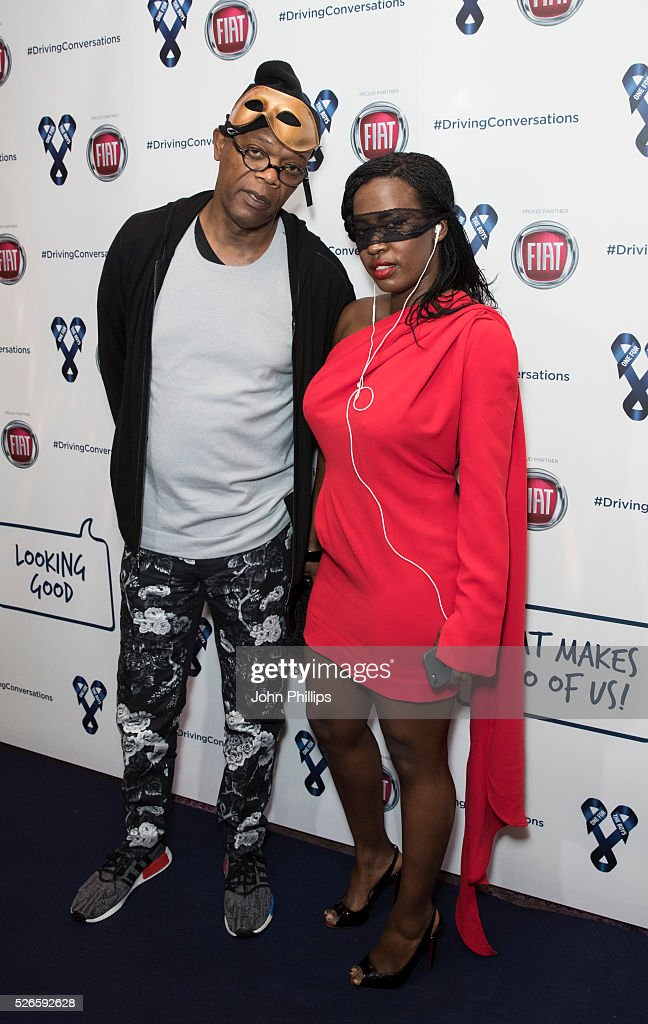Samuel L Jackson and <a gi-track='captionPersonalityLinkClicked' href=/galleries/search?phrase=Sofia+Davis&family=editorial&specificpeople=3091278 ng-click='$event.stopPropagation()'>Sofia Davis</a> arrive at the One For The Boys Charity Event Masquerave sponsored by FIAT at the Troxy on April 30, 2016 in London, England.