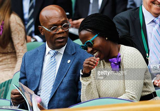 Samuel L Jackson and Sofia Davis in the Royal Box on Centre Court before the Gentlemen's Singles Final match between Roger Federer of Switzerland and...