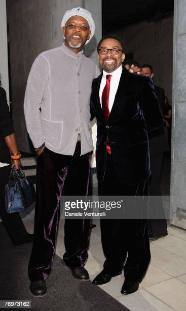 Samuel L Jackson and Spike Lee arrives at the Giorgio Armani show as part of Milan Fashion Week Spring Summer 2008 on September 24 2007 in Milan Italy