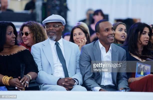 Samuel L Jackson and Sugar Ray Leonard at HollyRod Foundation's DesignCare Gala on July 15 2017 in Pacific Palisades California