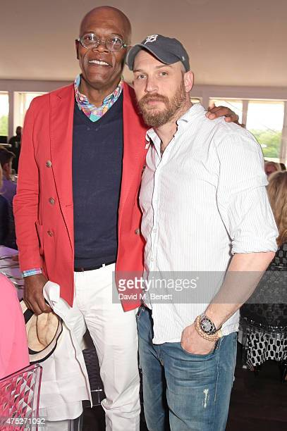 Samuel L Jackson and Tom Hardy attend day one of the Audi Polo Challenge at Coworth Park on May 30 2015 in London England