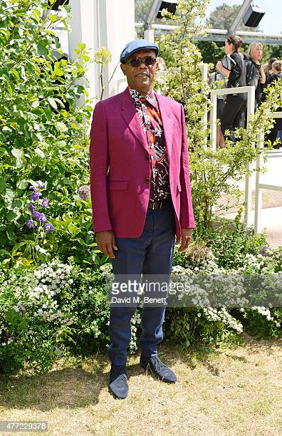 Samuel L Jackson arrives at the Burberry Menswear Spring/Summer 2016 show at Kensington Gardens on June 15 2015 in London England