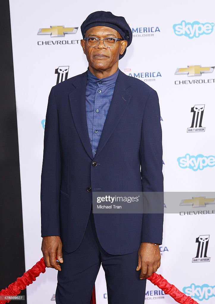 <a gi-track='captionPersonalityLinkClicked' href=/galleries/search?phrase=Samuel+L.+Jackson&family=editorial&specificpeople=167234 ng-click='$event.stopPropagation()'>Samuel L. Jackson</a> arrives at the Los Angeles premiere of 'Captain America: The Winter Soldier' held at the El Capitan Theatre on March 13, 2014 in Hollywood, California.