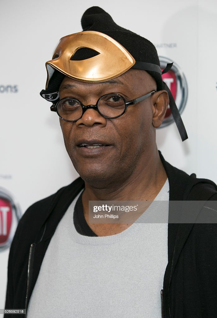 Samuel L Jackson arrives at the One For The Boys Charity Event Masquerave sponsored by FIAT at the Troxy on April 30 2016 in London England