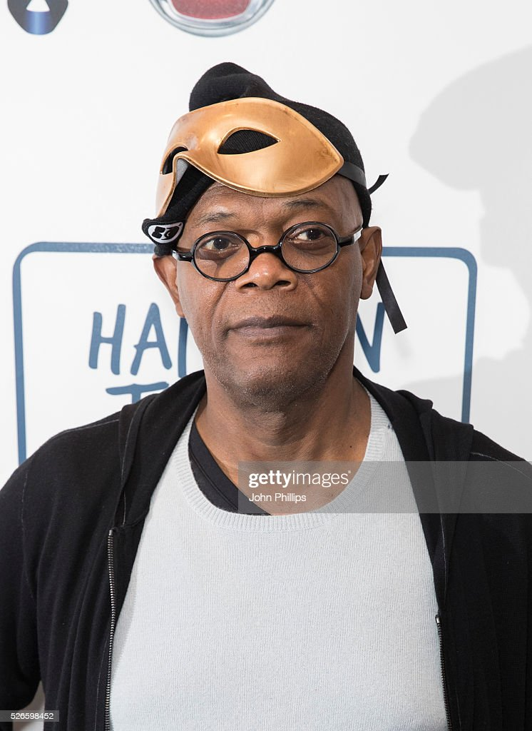 Samuel L Jackson arrives at the One For The Boys Charity Event Masquerave sponsored by FIAT at the Troxy on April 30, 2016 in London, England.
