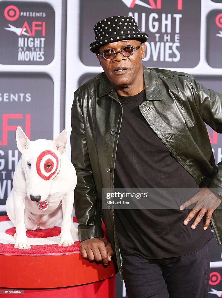 <a gi-track='captionPersonalityLinkClicked' href=/galleries/search?phrase=Samuel+L.+Jackson&family=editorial&specificpeople=167234 ng-click='$event.stopPropagation()'>Samuel L. Jackson</a> arrives at the Target presents AFI Night at the movies held at ArcLight Hollywood on April 24, 2013 in Hollywood, California.