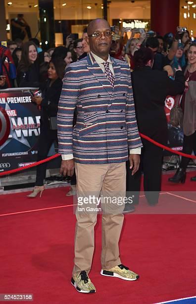 Samuel L Jackson arrives for UK film premiere 'Captain America Civil War' at Vue Westfield on April 26 2016 in London England