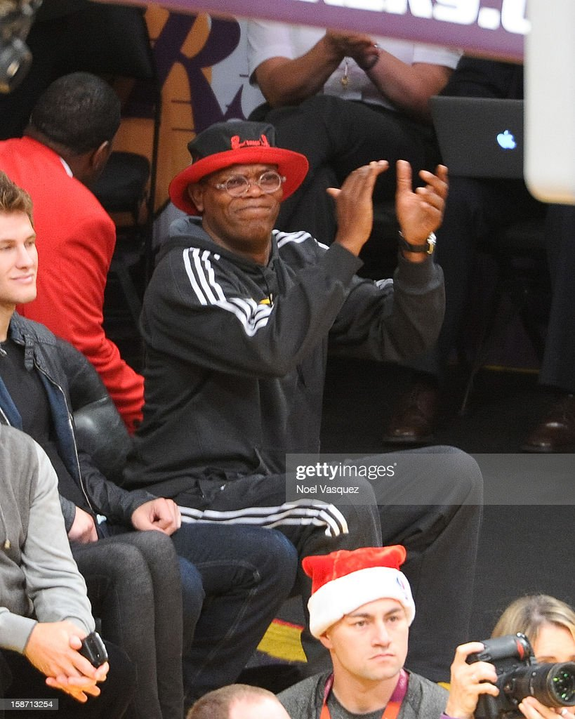 Samuel L. Jackson attends a basketball game between the New York Knicks and the Los Angeles Lakers at Staples Center on December 25, 2012 in Los Angeles, California.