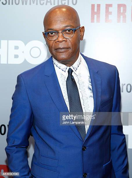 Samuel L Jackson attends 'Show Me A Hero' New York Screening at The New York Times Center on August 11 2015 in New York City