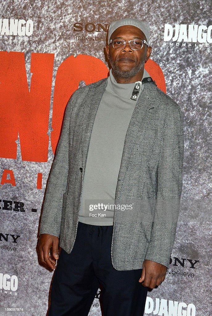 Samuel L. Jackson attends the 'Django Unchained' Paris premiere red carpet arrival at Le Grand Rex on January 7, 2013 in Paris, France.