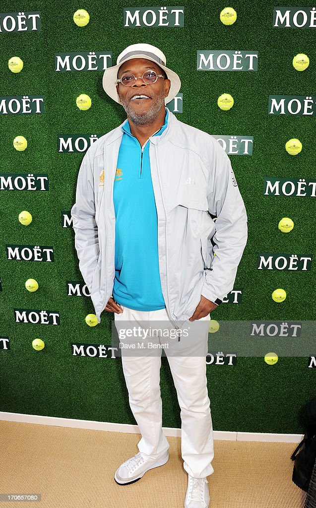 <a gi-track='captionPersonalityLinkClicked' href=/galleries/search?phrase=Samuel+L.+Jackson&family=editorial&specificpeople=167234 ng-click='$event.stopPropagation()'>Samuel L. Jackson</a> attends The Moet & Chandon Suite at The Aegon Championships Queens Club finals on June 16, 2013 in London, England.