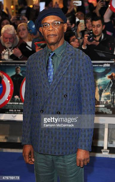 Samuel L Jackson attends the UK Film Premiere of 'Captain America The Winter Soldier' at Westfield London on March 20 2014 in London England